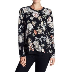 Bobeau Floral Bow Back Black Sweater XL